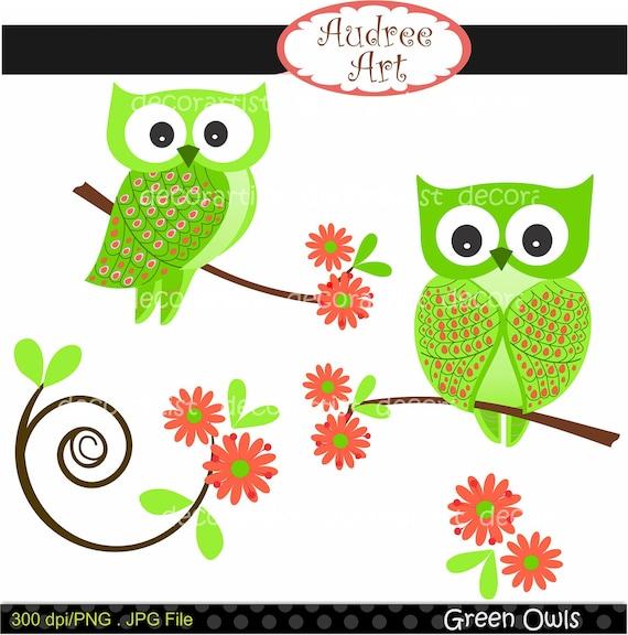Owl clip art, Digital clip art , Green Owls , instant download clip art