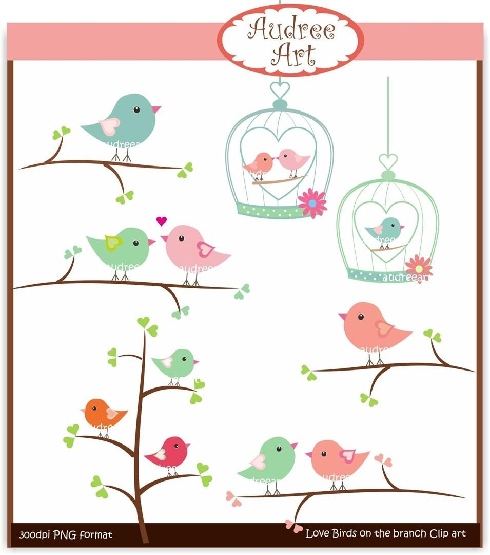 Clip art valentine love birds on branches by Audreeartclipart