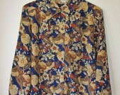 SALE. Paisley Flowers& Leaves Collared Long Sleeve Button up