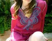 b e r r y - Paisley Boho Hippie Silk Tunic
