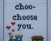 I choo-choo-choose you - cross-stitch card