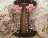 NOSTALGIA shabby vintage pink rose earrings assemblage secret love romance ooak one of a kind