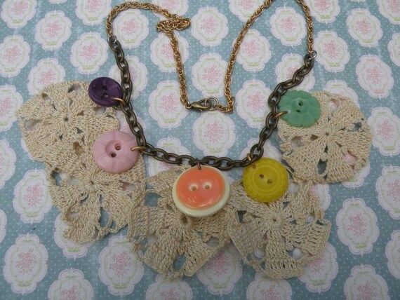 SEW vintage button doily necklace assemblage sewing seamstress sweet shabby chic