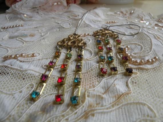 WISPY old rhinestone chain earrings colorful vintage findings ooak one of a kind assemblage