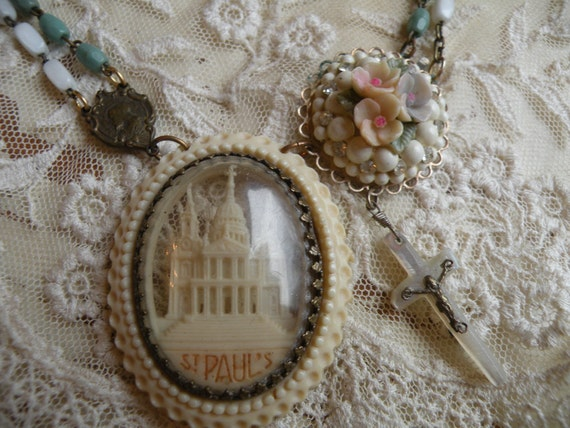 reserved PRAISE vintage church necklace religious assemblage  one of a kind ooak old flowers rosary beads