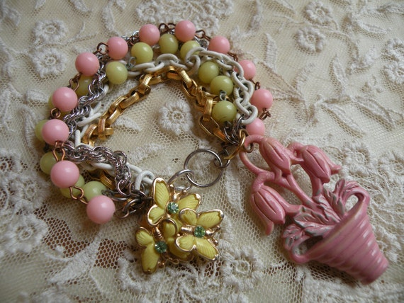 reserved for patti TULIP bracelet shabby spring tangle butterfly vintage bouquet pink yellow unique one of a kind ooak assemblage