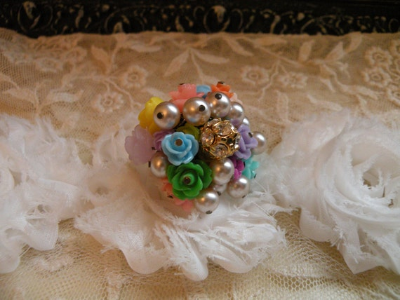ROSE GARDEN shabby chic cha cha ring billowing lush flower blossoms summer petals full bouquet