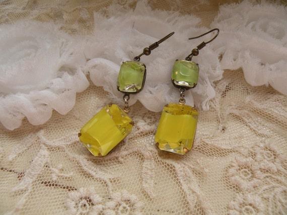 LEMON LIME glass jewel earrings fresh spring summer lemonade stand  citrus zest shabby chic
