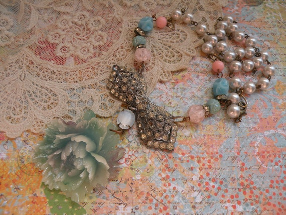 PEONY no2 vintage assemblage necklace shabby chic fresh floral ooak