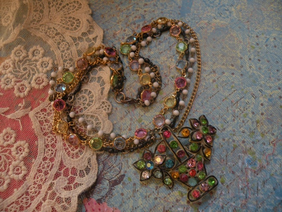 reserved TITILLATING necklace vintage rhinestone basket assemblage sparkling shabby chic one of a kind ooak