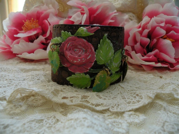 reserved for hannah RUSTIC ROSE leather cuff  assemblage bracelet romantic wide summer garden true love one of a kind