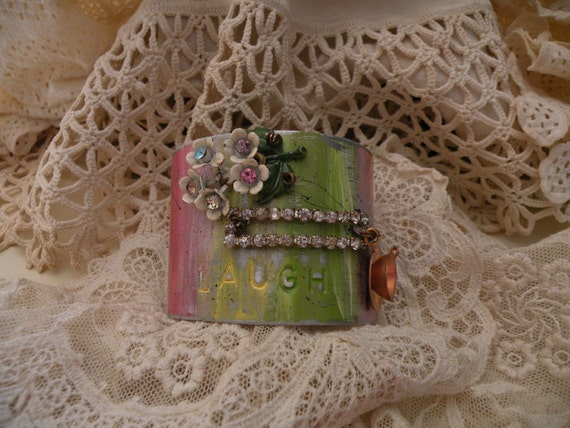 reserved for patti SENTIMENTS recycled aluminum cuff asemblage bracelet wide vintage flower summer garden ooak one of a kind