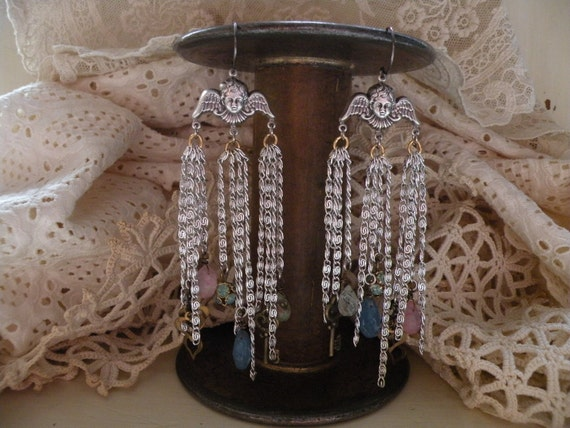 ANGELIC vintage assemblage earrings religious ooak one of a kind natural stones fringe tangles