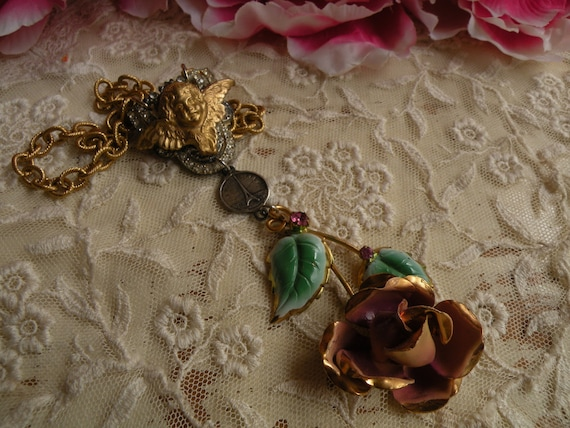 reserved for hannah HARMONY necklace vintage rose assemblage cherub one of a kind ooak