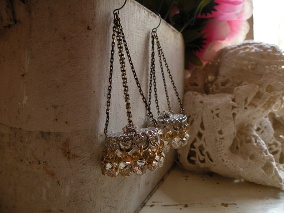 reserved MINI CHANDELIER no3 earrings vintage sparkling rhinestone assemblage one of a kind ooak shabby chic
