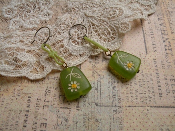 reserved sweet petites earrings vintage assemblage old beads grass green shabby chic lovely