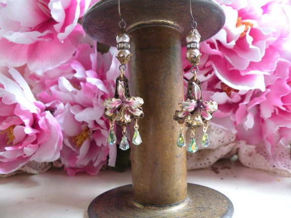 ORCHIDS vintage assemblage earrings shabby chic old flower garden lovely ooak one of a kind