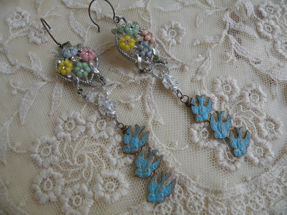 FLY vintage assemblage earrings bluebirds old rosary connectors ooak one of a kind summer garden