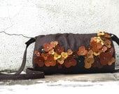 Black Friday Etsy Cyber Monday Sale Leather Messenger Bag . Rustic Woodland Floral Embellishment .