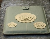 Leather iPad 1 & 2 Case with Triple Flowers