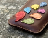 iPhone / iPod / HTC Case Walnut Brown Leather Rainbow Plant