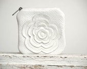 White Leather Bag Change Pouch Coin Pouch Gift Idea