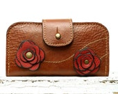 RESERVED iPhone Leather Wallet  Brown Poppy Rose Studded Red iPhone Wallet  Rustic Gadget Accessories