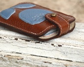Business Card Holder Leather Case Credit Card  Wallet Case Chestnut Brown Violet Blue