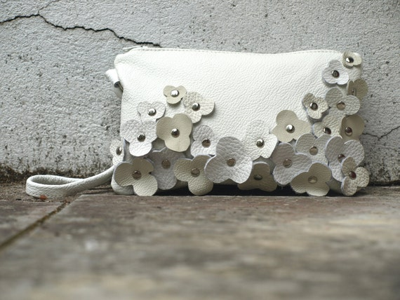White Clutch / Wristlet / Bag  Ivory Leather . Studded Leather  Blossom