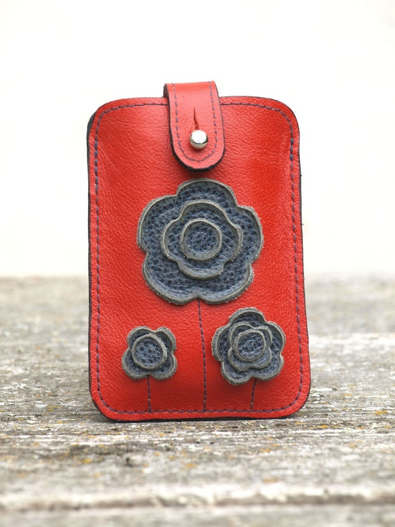 Leather iPhone 4 Case in Red.  Gray Grey Flowers