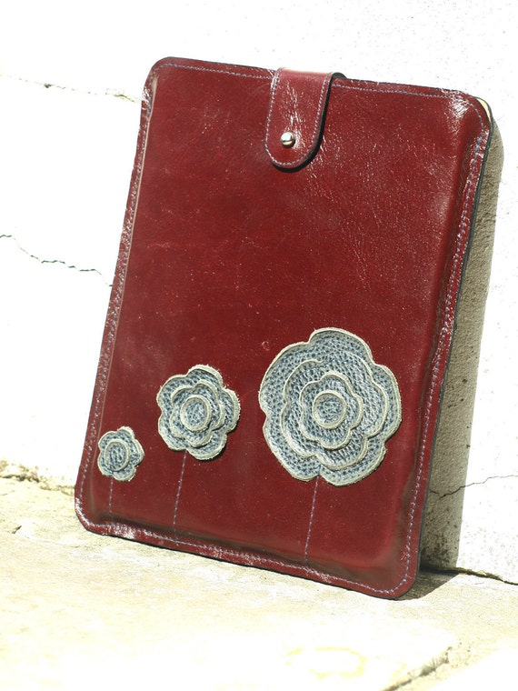 iPad 1 2 Case Grey Red Leather . Floral Applique