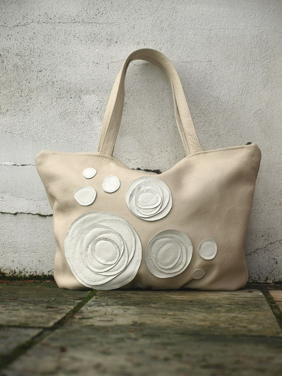 Leather Tote Bag Purse Hobo Cream And White Leather Applique Rosette Spring Fashion