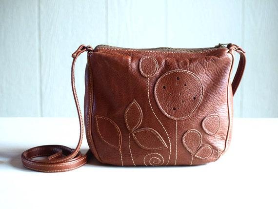Brown Leather Bag / Purse / Pouch Leather Flower Applique Floral Bag Etsy Spring 2012