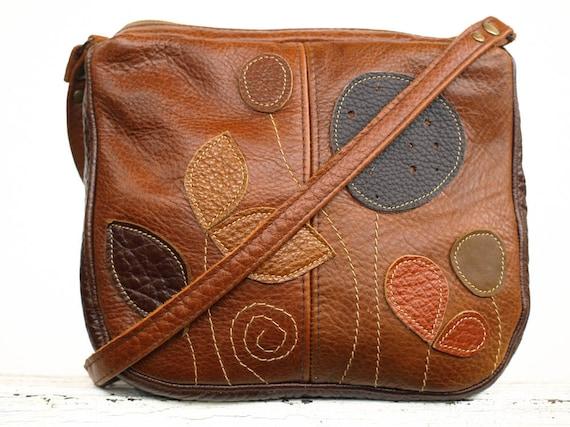 Brown Leather Bag Cross Body Bag Leather Handbag Rustic Purse Fall Botanical Leaves Applique