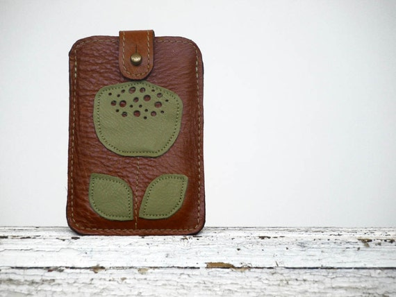iPhone / iPod / HTC Brown Leather Case Minimalist Retro sage Green Flower Mothers Day Gift Idea