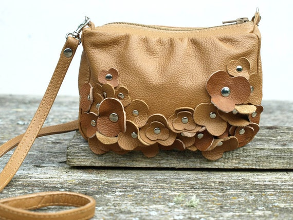 Brown Leather Bag Tiny Blossom Cross Body Bag Purse Vintage Style Purse Brown Leather Bag
