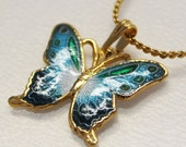 Butterfly necklace - blue