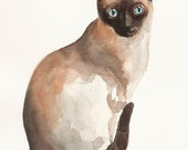 CUSTOM PORTRAIT OF YOUR CAT  by DIMDI Original watercolor painting