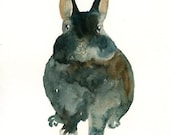 BUNNY by DIMDI Original watercolor painting 8X10inch