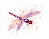 DRAGONFLY by DIMDI Original watercolour painting 10x8inch