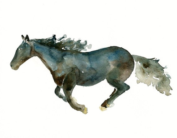 HORSE by DIMDI Original watercolor painting 10X8inchxxxxAll the animals that you wantxxxx