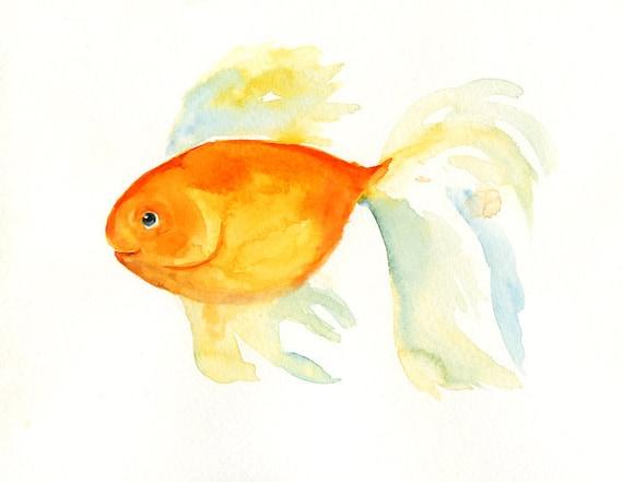 GOLDFISH by DIMDI Original watercolor painting 8x10inch