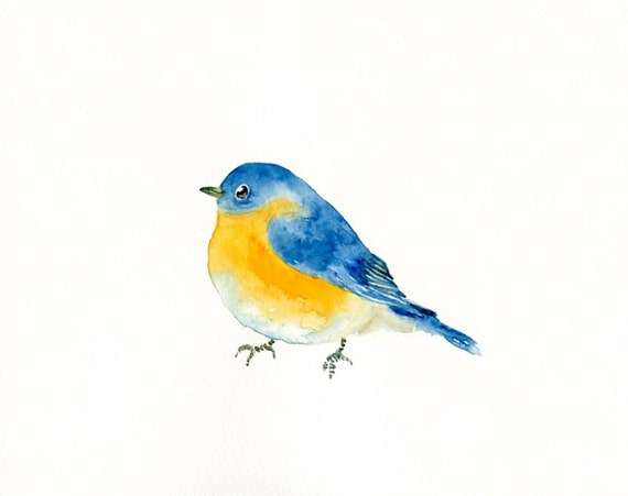BLUEBIRD by DIMDI Original watercolor painting 10x8inch