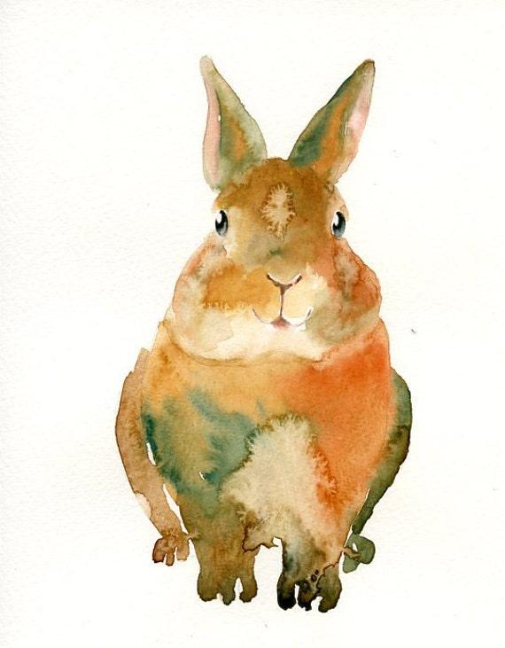 BUNNY by DIMDI Original watercolor painting 8X10inch xxxxAll the animals that you wantxxxx