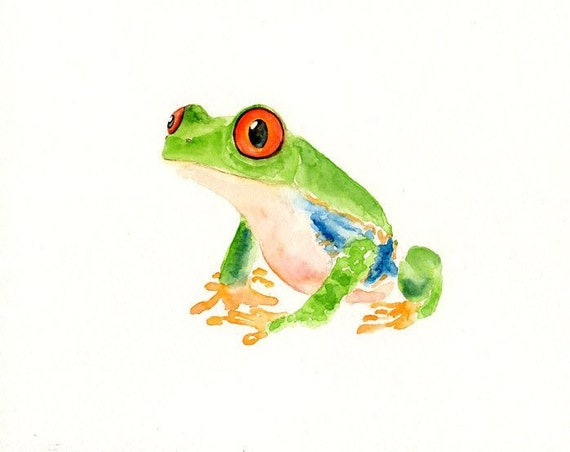 TREE  FROG by DIMDI Original watercolor painting 10X8inch