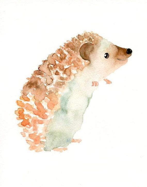 Hedgehog by dimdi original watercolor painting 8x10inch for Cute watercolor paintings
