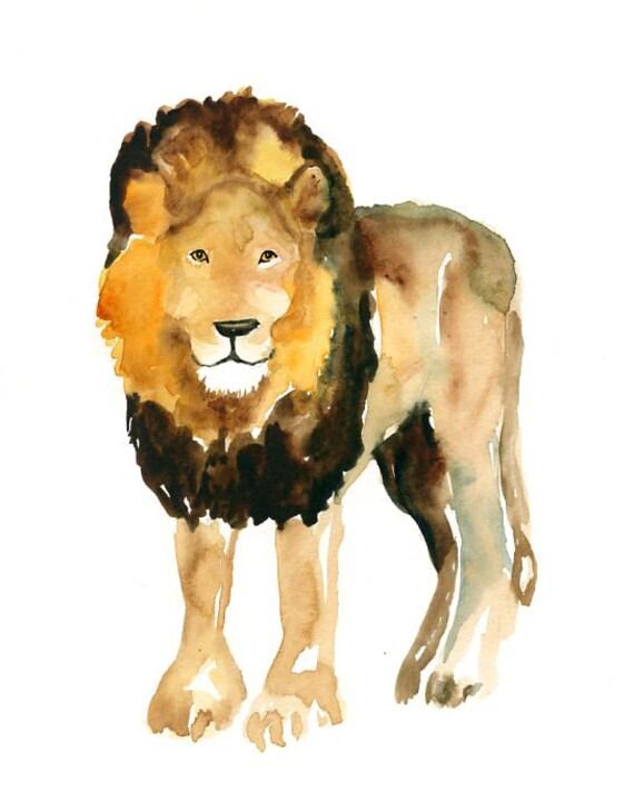 LION by DIMDI Original watercolor painting 8x10inch(Vertical orientation)