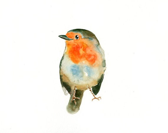 ROBIN by DIMDI Original watercolor painting 10X8inch