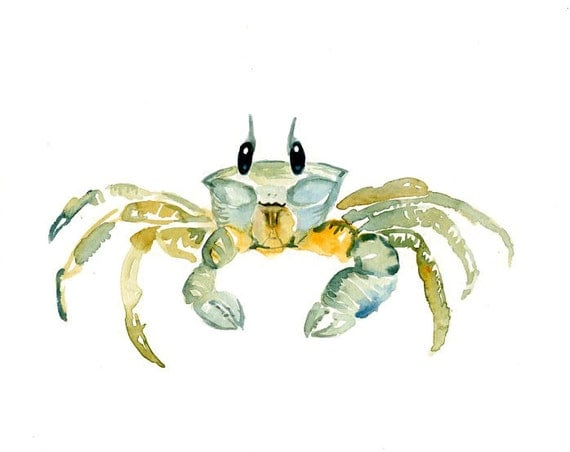 GHOST CRAB by DIMDI  Original watercolor painting 10X8inch