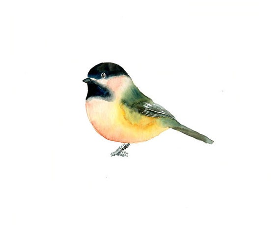 CHICKADEE by DIMDI Original watercolor painting 10X8inch